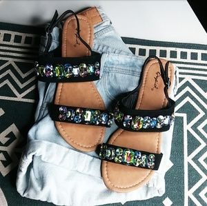 🆕//The Coraline// Black jeweled Sandal